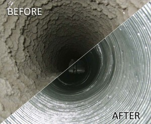 Duct cleaning image before and after
