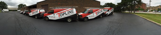 Panoramic van, truck and car photo for Topline HVAC